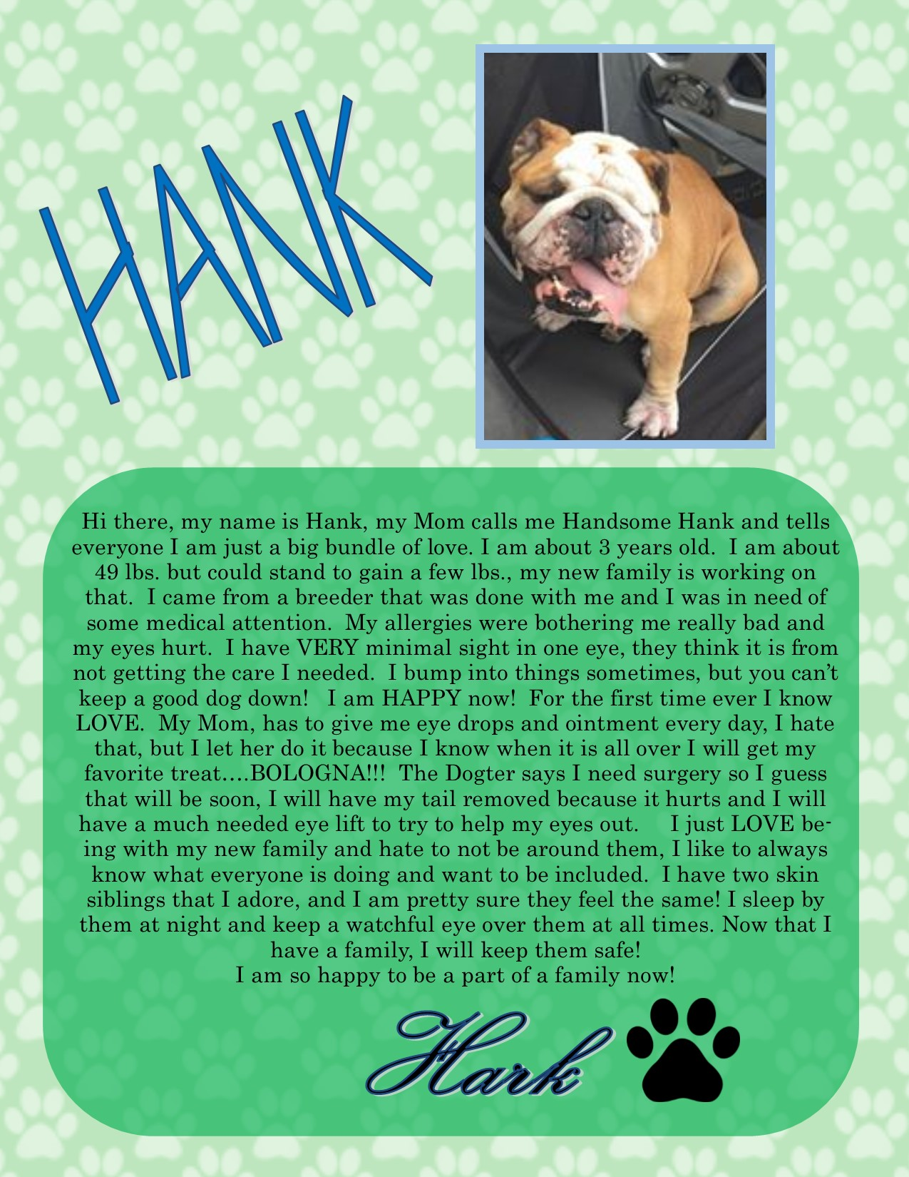 Handsome Hank-Adopted