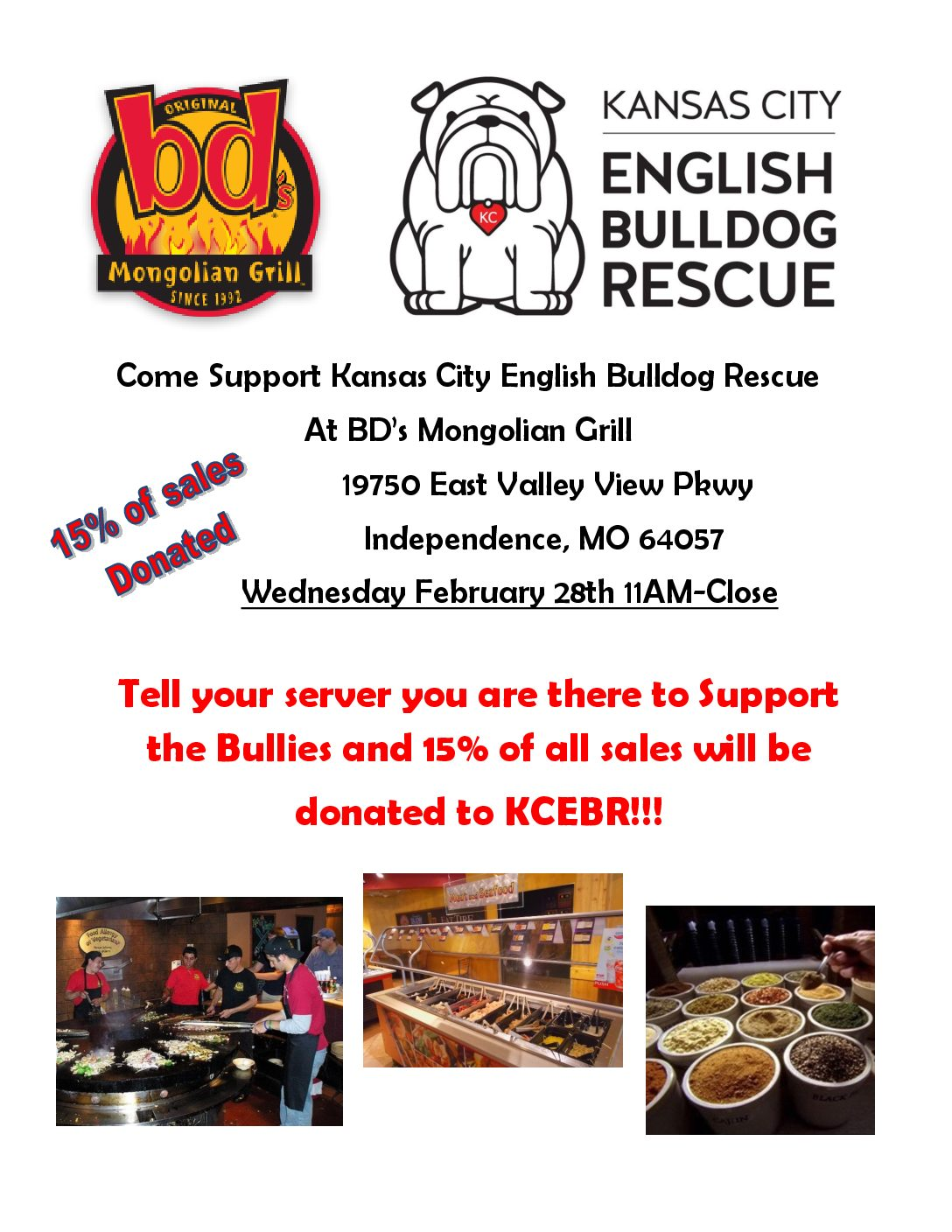 Fundraiser day at bds mongolian grill kansas city english come enjoy some great food drinks and company at bds mongolian grill tell your server you are there to support kansas city english bulldog rescue and 15 forumfinder Choice Image